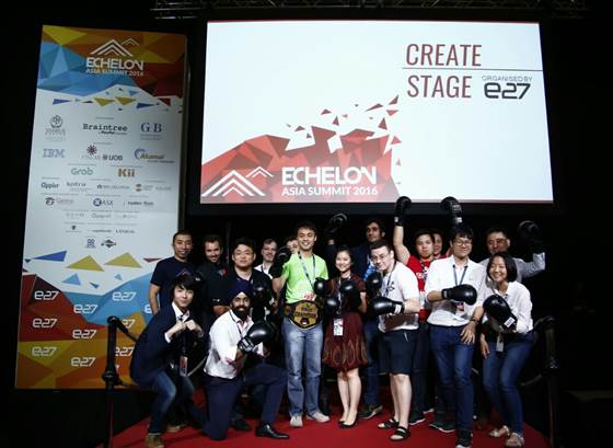 Softinn Solutions emerged as the winner of Echelon TOP100 Startup Search. Founder of Softinn, JeeShen Lee, is pictured in green.